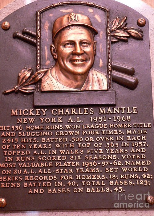 Mickey Mantle Greeting Card featuring the photograph The Mick by David Bearden