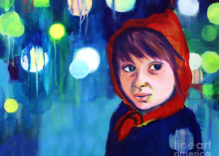 Mysterious Greeting Card featuring the painting The Miracle by Angelique Bowman