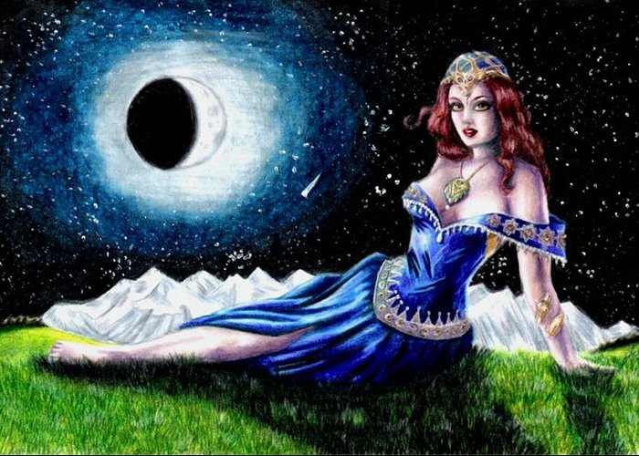 Witch Greeting Card featuring the drawing The Moon Witch by Scarlett Royal