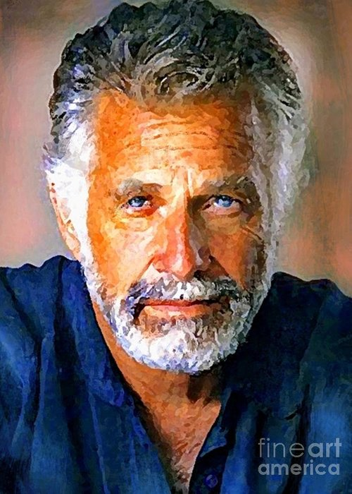 Dos Equis Paintings Paintings Greeting Card featuring the painting The Most Interesting Man In The World by Debora Cardaci