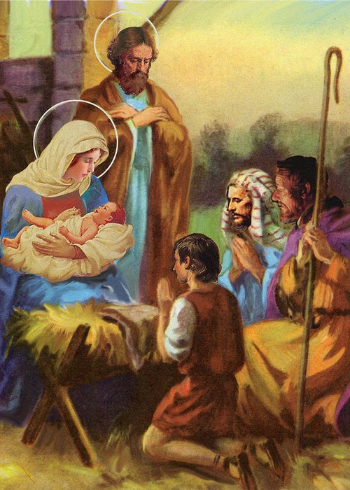 Nativity Greeting Card featuring the pastel The Nativity by Valer Ian