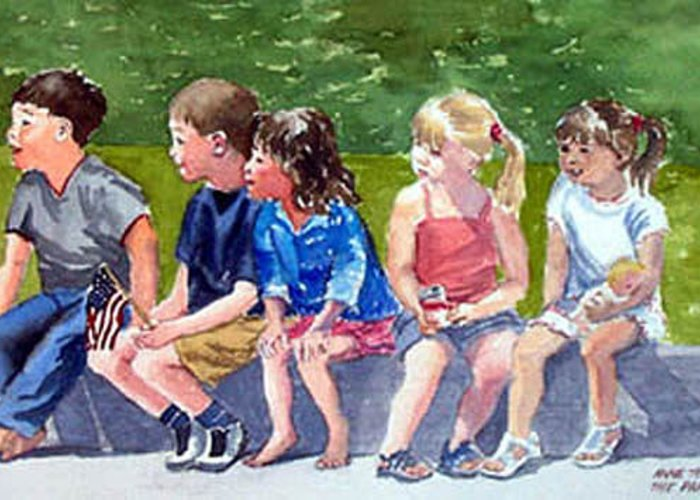 Children Greeting Card featuring the painting The Parade Watchers by Anne Trotter Hodge