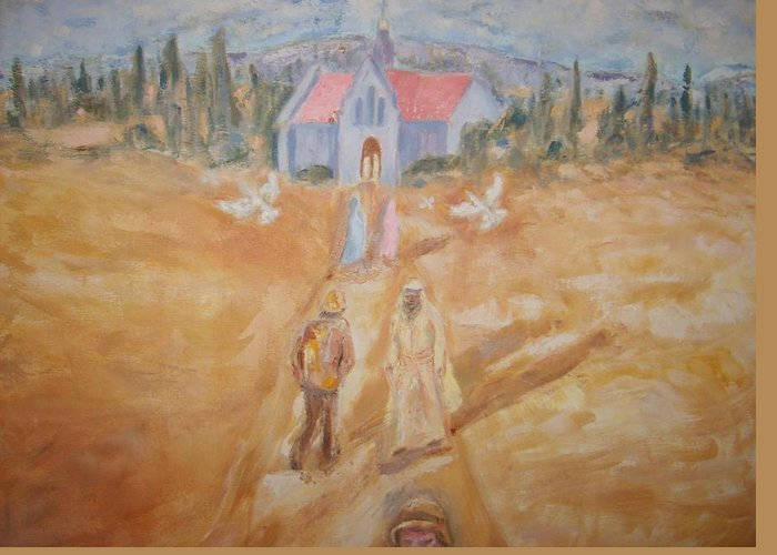 Landscape Greeting Card featuring the painting The Path by Joseph Sandora Jr