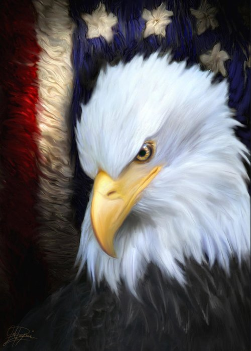 Eagle Greeting Card featuring the painting The Patriot by Joel Payne