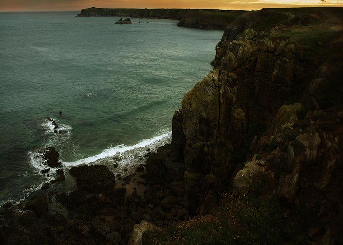 Cliff Greeting Card featuring the photograph The Pembrokeshire Cliffs by Angel Ciesniarska
