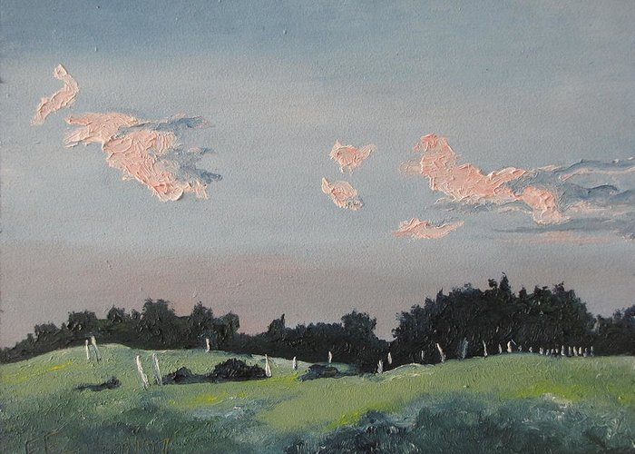 Landscape Greeting Card featuring the painting The Pink Clouds by Francois Fournier