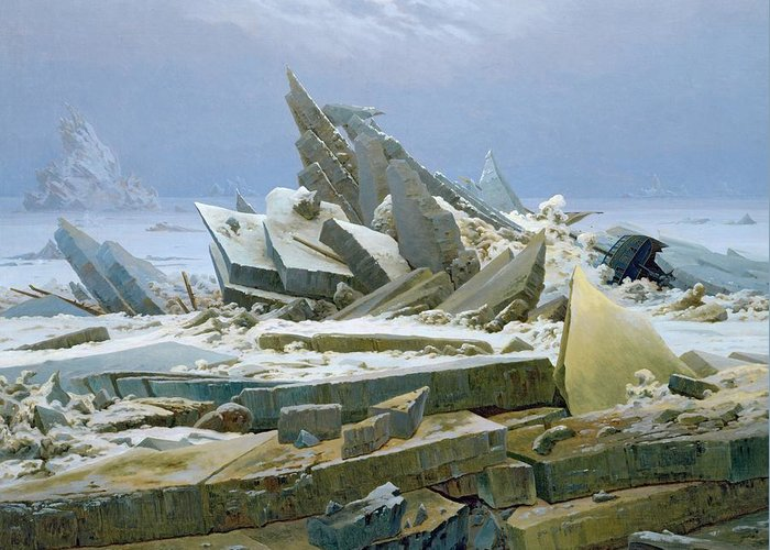 The Greeting Card featuring the painting The Polar Sea by Caspar David Friedrich