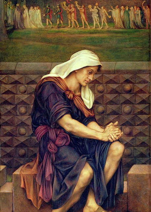 Evelyn De Morgan Greeting Card featuring the painting The Poor Man Who Saved The City 1 by Evelyn De Morgan