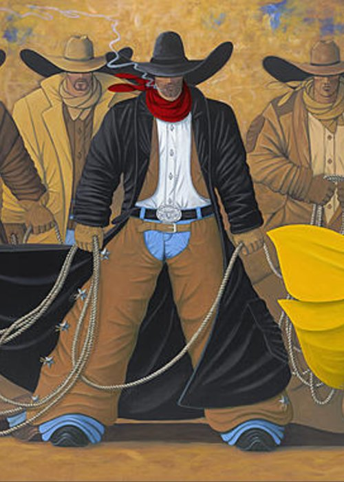 Large Cowboy Painting Of Six Cowboys. Greeting Card featuring the painting The Posse by Lance Headlee