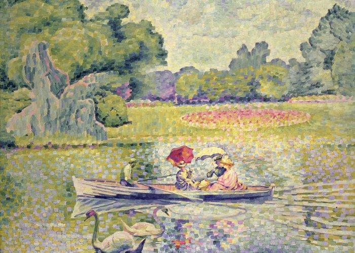 The Promenade In The Bois De Boulogne Greeting Card featuring the painting The Promenade In The Bois De Boulogne by Henri-Edmond Cross