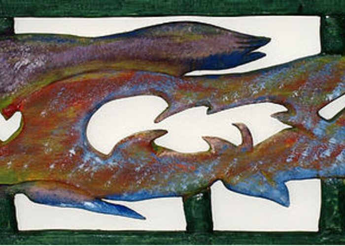 Extinct Fish Greeting Card featuring the mixed media The Prozak Fish by Robert Margetts