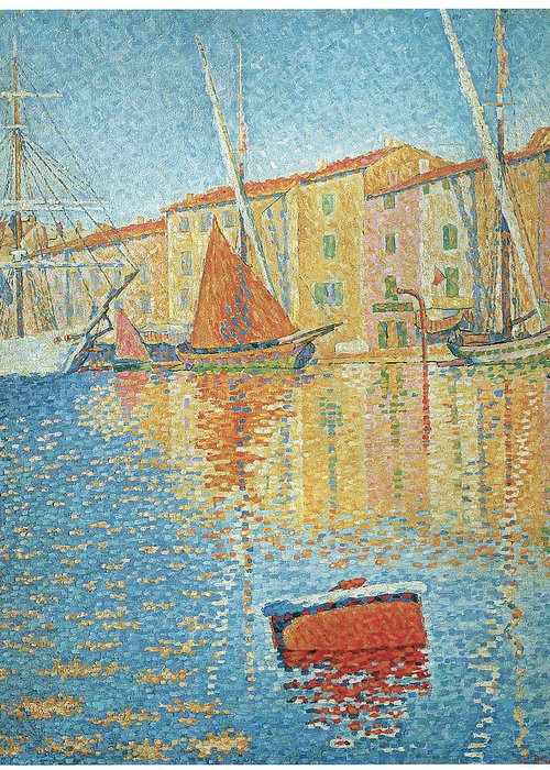 Paul Signac Greeting Card featuring the painting The Red Buoy by Paul Signac