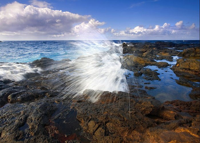 Salt Greeting Card featuring the photograph The Sea Erupts by Mike Dawson
