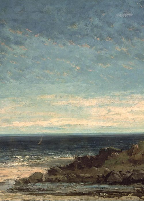 The Greeting Card featuring the painting The Sea by Gustave Courbet