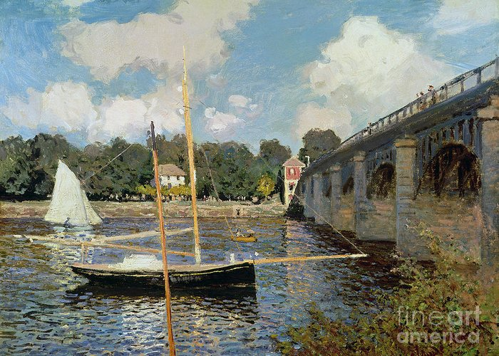 Boat Greeting Card featuring the painting The Seine At Argenteuil by Claude Monet