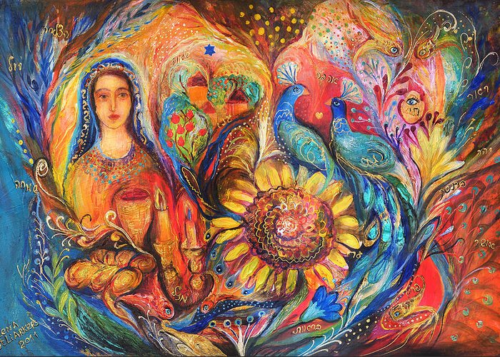 Original Greeting Card featuring the painting The Shabbat Queen by Elena Kotliarker