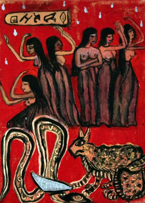 Egyptian Greeting Card featuring the painting The Slain of the Snake by Pilar Martinez-Byrne