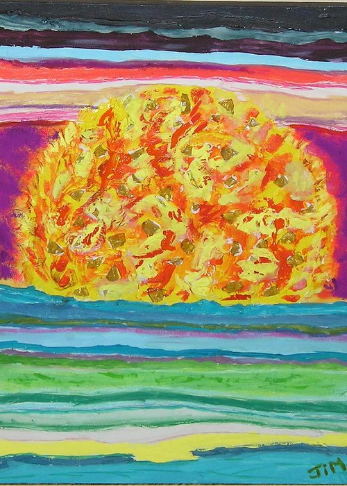 Hot Greeting Card featuring the painting The Sun Drinks The Ocean And Eats The Sky by James Campbell