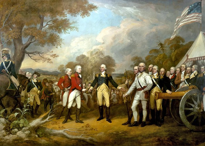 Revolutionary War Greeting Card featuring the painting The Surrender Of General Burgoyne by War Is Hell Store