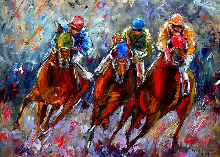 Horse Race Greeting Card featuring the painting The Turn by Debra Hurd