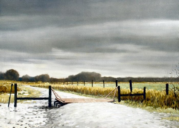 Landscape Greeting Card featuring the painting The Turnoff by Kevin Lawrence Leveque