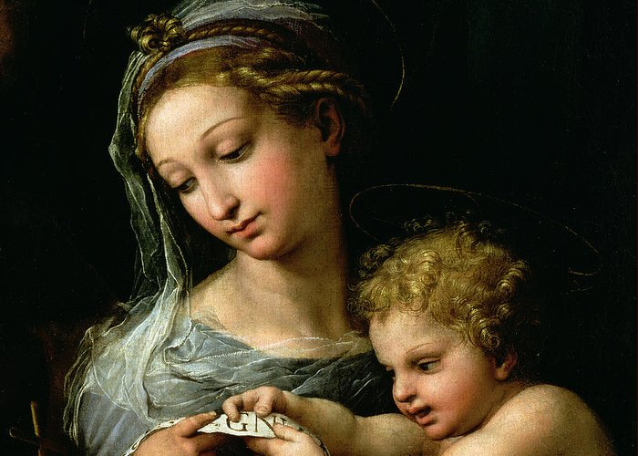 The Greeting Card featuring the painting The Virgin Of The Rose by Raphael