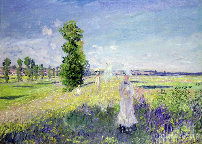 The Walk (argenteuil) Greeting Card featuring the painting The Walk by Claude Monet
