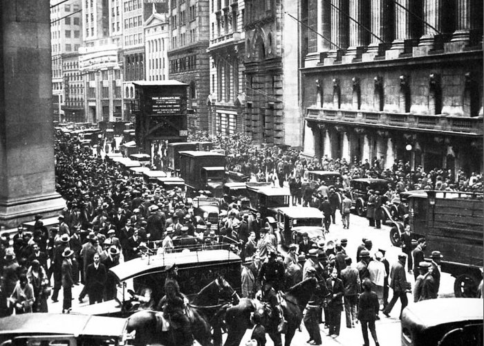 The wall street crash 1929 greeting card for sale by american school wall street greeting card featuring the photograph the wall street crash 1929 by american school m4hsunfo