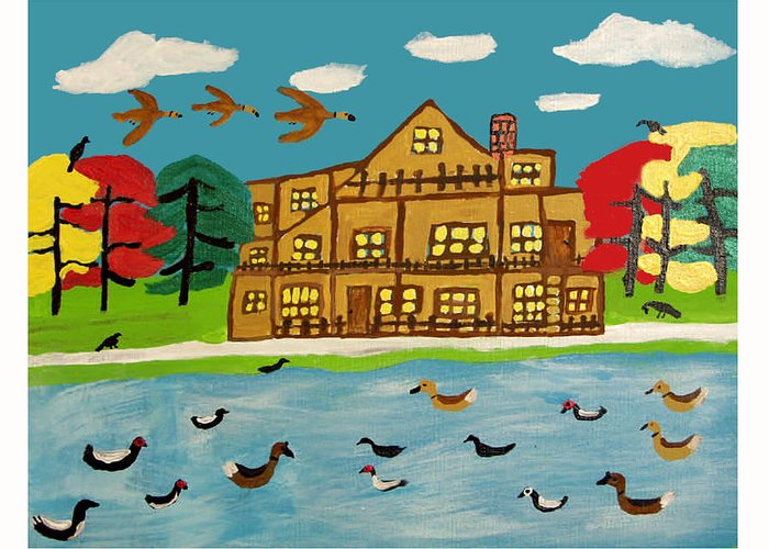 Wildlife Birds Landscape Greeting Card featuring the painting The Wildlife Hotel by Betty Roberts