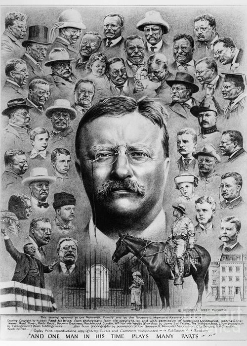 1922 Greeting Card featuring the drawing Theodore Roosevelt by Granger