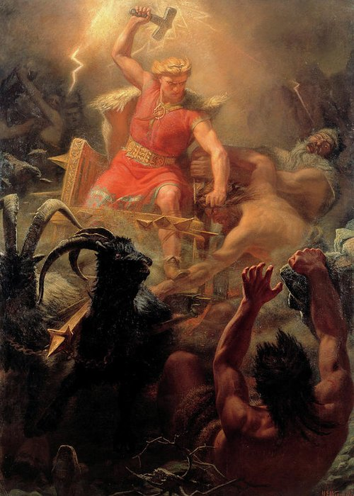 Thor Greeting Card featuring the painting Thor Fighting With The Giants by Marten Eskil Winge