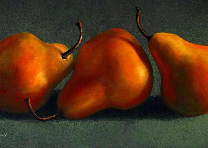 Still Life Greeting Card featuring the painting Three Golden Pears by Frank Wilson