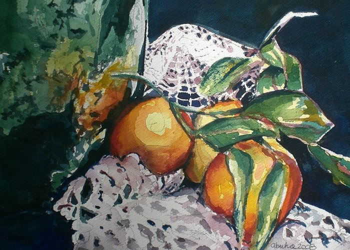 Oranges Greeting Card featuring the painting Three Oranges by Aleksandra Buha