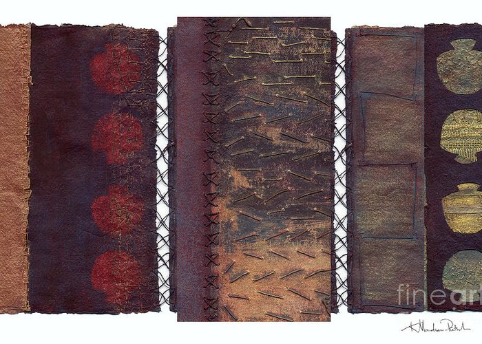 3panel Greeting Card featuring the painting Three Panel Transitional Page Format by Kerryn Madsen- Pietsch