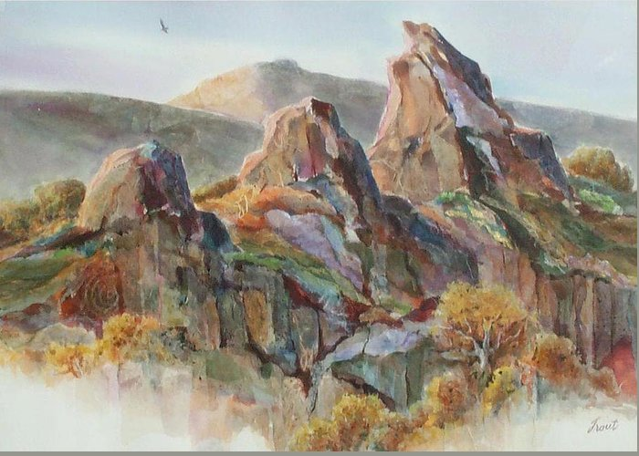 Landscape Mixed Media Greeting Card featuring the painting Three Sisters by Don Trout