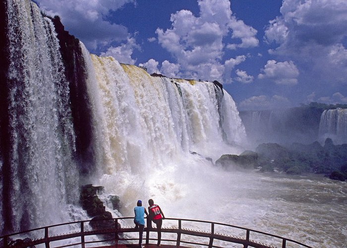South America Greeting Card featuring the photograph Thundering Water by Michele Burgess