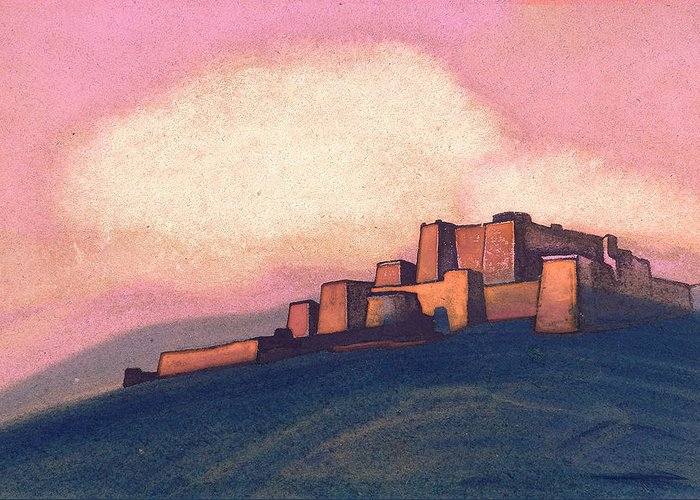 Architectural Greeting Card featuring the painting Tibetan Fortress by Nicholas Roerich