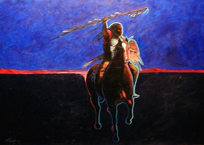 Native American Greeting Card featuring the painting To Protect And Serve by Joe Triano