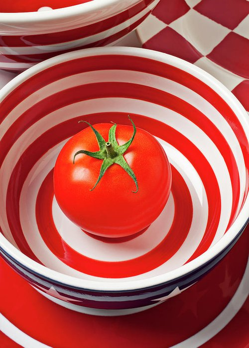 Tomato Greeting Card featuring the photograph Tomato In Red And White Bowl by Garry Gay