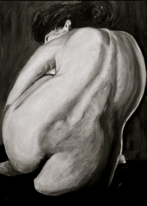 Nude Greeting Card featuring the painting Toni by Dan Earle