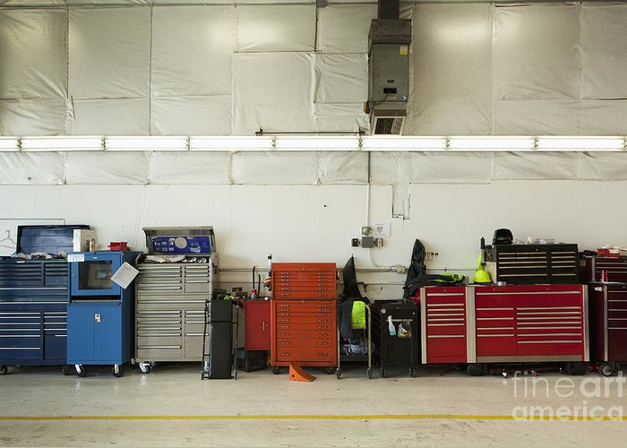Auto Greeting Card featuring the photograph Tool Chests In An Automobile Repair Shop by Don Mason