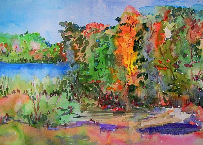 Nature Greeting Card featuring the painting Touch Of Fall by Liliana Andrei