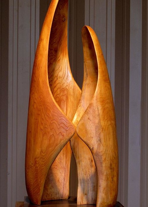 Wood Greeting Card featuring the sculpture Touching by Robert Hartl