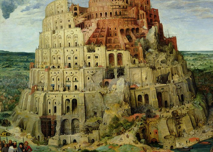 Tower Greeting Card featuring the painting Tower Of Babel by Pieter the Elder Bruegel