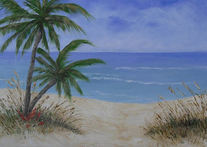 Seascape Greeting Card featuring the painting Tropical Beach by Barbara Harper
