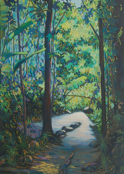 Trees Greeting Card featuring the painting Tropical Bliss by Glenford John