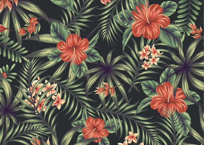 Tropical Greeting Card featuring the digital art Tropical Leaf Pattern 5 by Stanley Wong