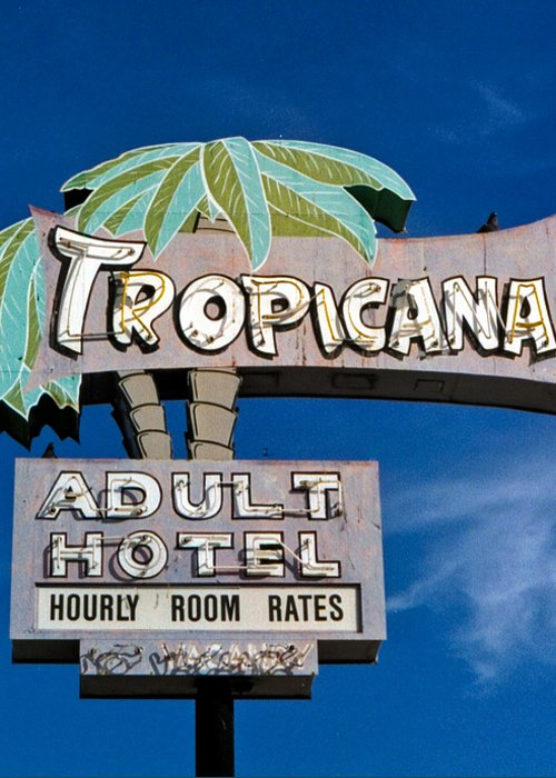 Hotel Sign Greeting Card featuring the photograph Tropicana by Matthew Bamberg