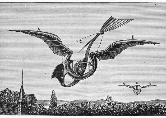 1870 Greeting Card featuring the photograph Trouv�s Ornithopter by Granger