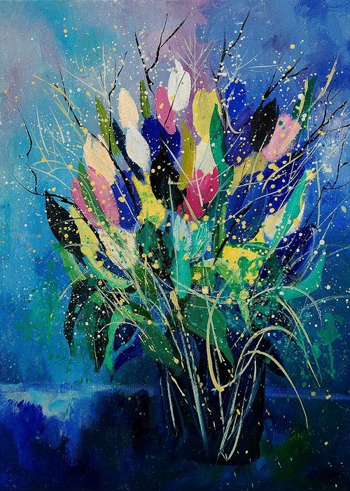 Flowers Greeting Card featuring the painting Tulips 45 by Pol Ledent